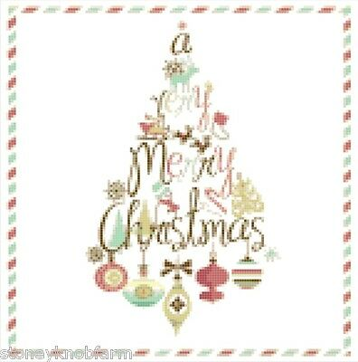Merry Christmas Tree in Vintage Colors ~ Counted Cross Stitch Pattern Chart