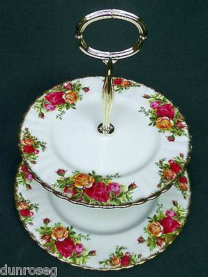 OLD COUNTRY ROSES 2-TIER CAKE STAND, UNUSUAL SIZE PLATES, 1962-73, ROYAL ALBERT