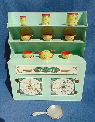 Large Clean! #199 Woverine Tin Litho Kitchen Hutch Toy w/ Accessories & Box