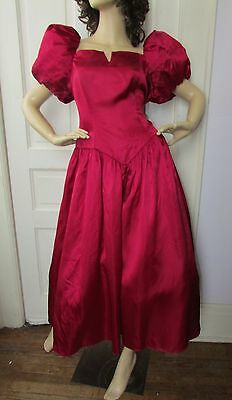 Vtg 80s Maroon PUFF Sleeves Bridesmaid Full Swing Cocktail PROM Party Dress 20
