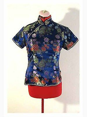 Gorgeous Tangyi Size: Small Chinese Cheongsam Blouse Silk Peony Floral Pristine