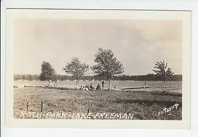 Park Lake Freeman Monticello Indiana White County IN Old RPPC Postcard Vintage