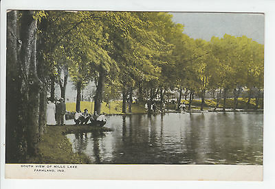 Mills Lake Farmland Indiana Randolph County IN Old Postcard Vintage 1912