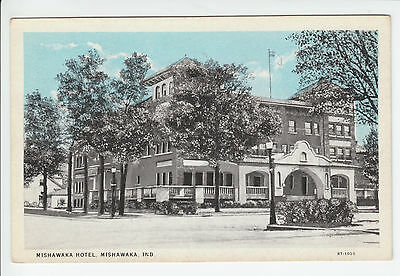 Hotel Mishawaka Indiana St Joseph County IN Old Postcard Vintage Sky-Tint 1920's