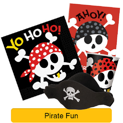 PIRATE FUN Birthday PARTY (Skull & Crossbones) Tableware Balloons & Decorations