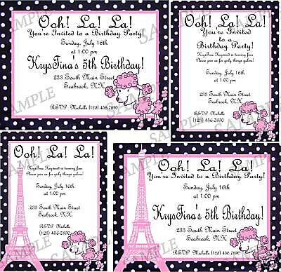 Birthday Party Baby Shower Invitation Pink Poodle Paris