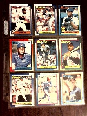 Lot Of 9 1990 Topps Baseball Cards 334 335 336 337 338 339 340 341 342 Griffey