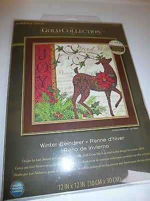 Gold Collection Winter Reindeer Counted Cross Stitch Kit-Dimensions