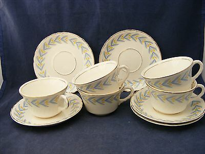 5 W S George Radisson China Cups & Saucers Yellow Tulips Blue Leaves