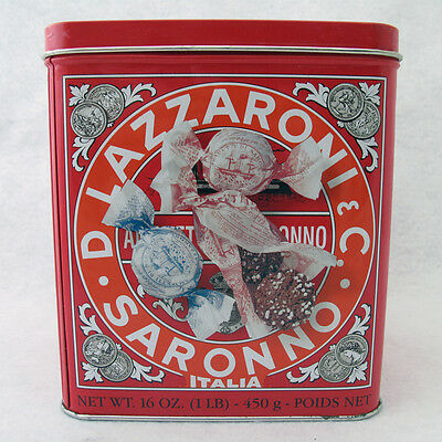 Lazzaroni D Saronno Empty Cookie Tin Italy Famous Orange And Red One Pound Tin