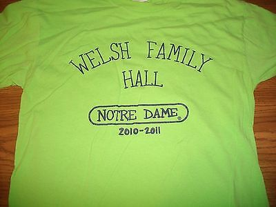 Notre Dame Welsh Family Hall 2010-2011 Whirlwind! Black on Green T-Shirt Sm New