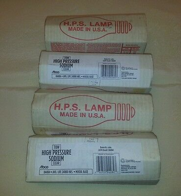 LOT OF 4-H.P.S. HIGH PRESSURE SODIUM LAMPS- CLEAR 70W ABCO 04484 LU70 MOGUL BASE