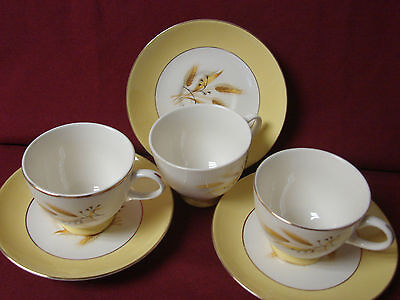 Vintage Homer laughlin Centery Service Autumn gold set 3 cup and saucer