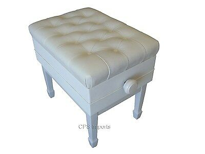 GENUINE LEATHER White Adjustable Artist Concert Piano Bench