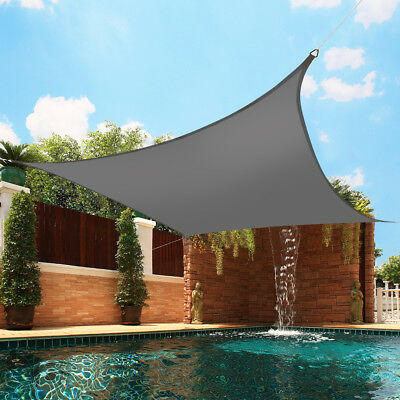 3m Sun Shade Sail Garden Awning Canopy 98% UV Block Square Anthracite