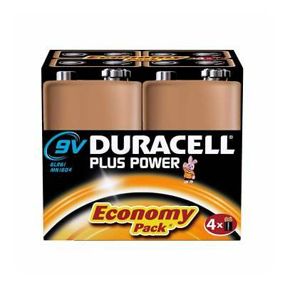 4 Pack Duracell PLUS POWER 9V 6LR61 MN1604 PP3 Alkaline Batteries Smoke Alarm
