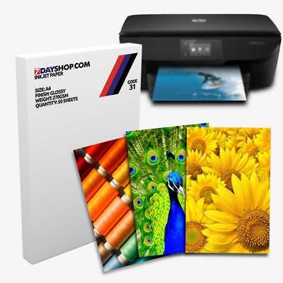 50 Sheets A4 Glossy 270gsm 7dayshop Professional Quality Inkjet Photo Paper