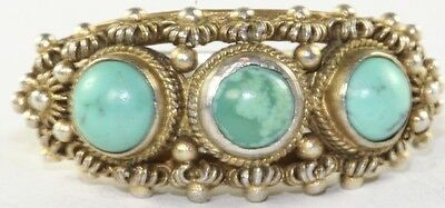 Vintage Antique Chinese Gilt Sterling Silver  Turquoise Ring