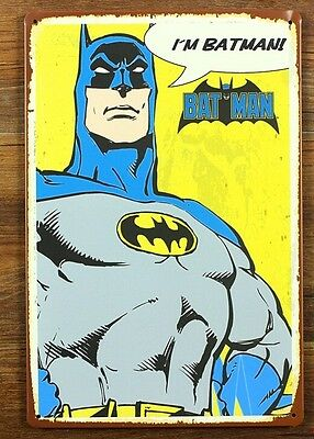 I am Bat Man Cartoon Wall Stickers Decor Iron Retro Tin Metal Signs Picture
