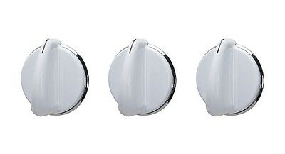 (3) Washer Knob for GE 175D3296P001 White Silver Knob  - NEW