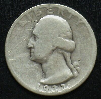 1932 S Key Date Washington Silver Quarter Grade Good Cleaned Shipped Free L498