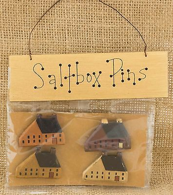 PRIMITIVE SALTBOX HOUSE Lot of 4 Pins or Push Pins Plus Wood Sign Rustic Country