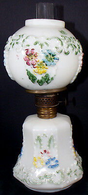 "1890's Victorian Era HP Milk Glass Cosmos 9.5""t Miniature Kerosene Oil Lamp"