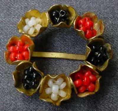 VINTAGE 30'S BLACK RED & WHITE WIRED BEADS GOLDEN FLOWER APPLIQUE EMBELLISHMENT
