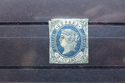 SPAIN 1862 #55 VF USED (SOME FAULTS)  IMPERF. SINGLE STAMP