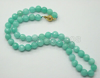 Fashion New Huge Natural Aquamarine 8mm Faceted Jade Beads Gems Necklace