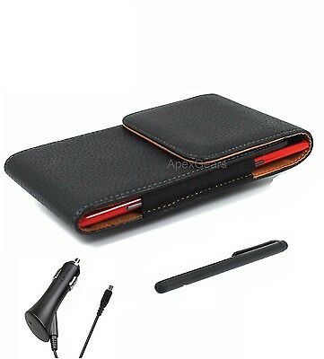 For Sony Black Faux Leather Vertical Pouch Belt Clip Stylus Pen Car Charger