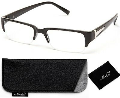 Trendy Black Half Frame Clear Lens Fashion Glasses Fashionable Style