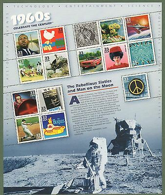 {BJ Stamps} 3188  33¢ Celebrate the Century (1960s) sheet. MNH Sheet of 15. 1999