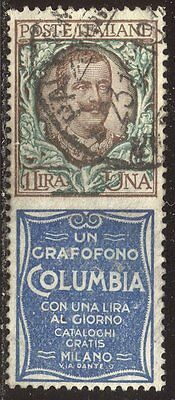 ITALY #87d SCARCE Used - 1924 1 l + Columbia Label