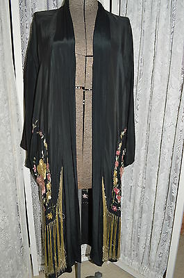 Stunning Flapper Antique Embroidered Silk Piano Robe Embroidered Roses Fringe
