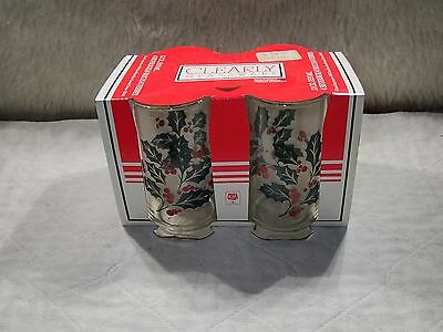 VTG Clearly Glassware Holly & Ivy Christmas Drinking Glass Set o f 4 Cup Holiday