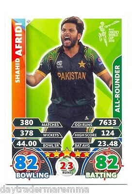 2015 Topps Cricket Attax ICC World Cup #086 Shahid Afridi - Pakistan