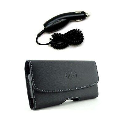 Car Charger & Horizontal Leather Case Pouch For BlackBerry Pearl Flip 8220 8230