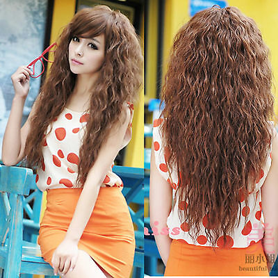 Womens Wig Fancy Sexy long Full Curly Wavy Hair Wigs Cosplay Party Light Brown