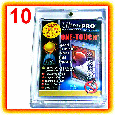10 Ultra Pro ONE TOUCH MAGNETIC 180pt UV Card Holder Case 82233-UV Vintage Sport