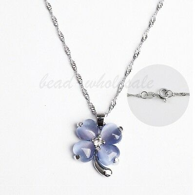 1pc Elegant Cat's eye Opal Heart Clear Crystal Four-leaf Clover Necklace,Blue