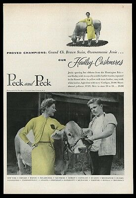 1953 Brown Swiss cow champion photo Peck and Peck vintage print ad