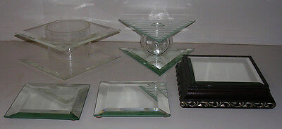 Lot of 5 Retail or Home Glass & Mirror Jewelry Display Stands