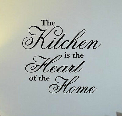 """""""The Kitchen is the Heart of the Home"""" Vinyl Wall Decal Graphic Lettering"""