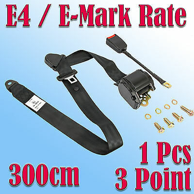 3 Metre Long Universal 3 Point Retractable Auto Car Seat Belt E4 Rated ECE R16