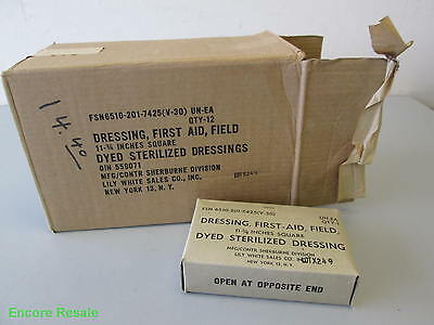 """Full Case 12 Vietnam-Era FIRST AID FIELD DRESSING Bandage 11 3/4"""" New Old Stock"""