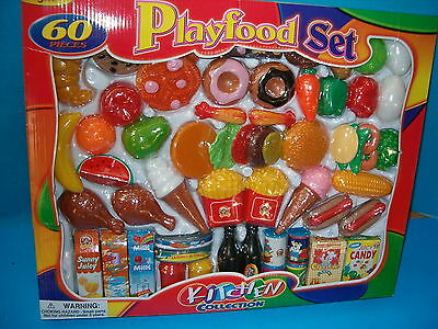 PLAYFOOD SET NIB 60 PIECES,KITCHEN COLLECTION,FRUITS,VEG,MILK,CANNED FOODS