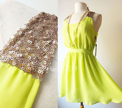Forever 21 Lime Green Gold Sequins Panel SEXY Open Back Skater Chiffon Dress - S
