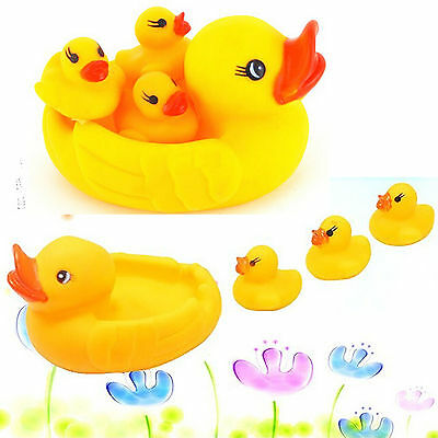 Newest 4X Duck Yellow Baby Kids Happy Hour Race Cute Toys Bathing Rubber Squeaky