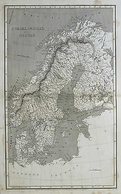 1810 Sweden Denmark Norway Genuine Arrowsmith Antique Map